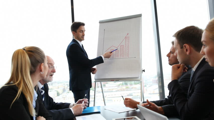 Businesspeople discussing the presentation of graph at whiteboard | Shutterstock HD Video #19842313
