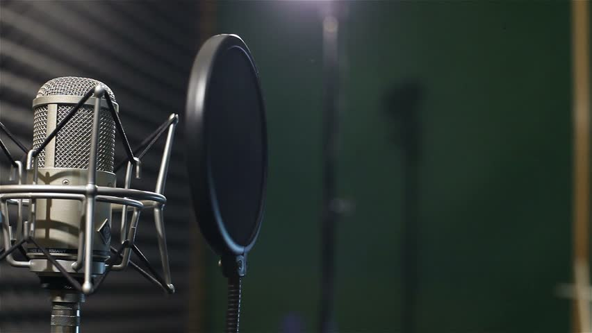 Studio Recording Professional Microphone In The Near Wall With Acoustic Dampening Foam Shallow Depth Of Field Stock Footage