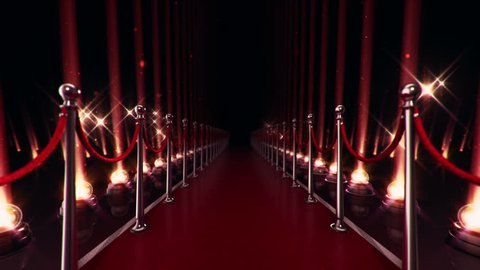 Abstract animation of slow move on red carpet with light bulbs for projectors on glossy floor. Falling particles flickering on backdrop. Animation of seamless loop.
