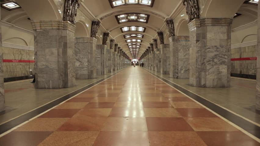 View of the metro train arrive at Kirovsky zavod metro station in Saint Petersburg Russia
