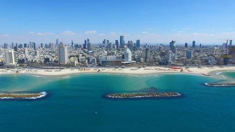Tel Aviv skyline - Moving in from the mediterranean sea, Aerial footage