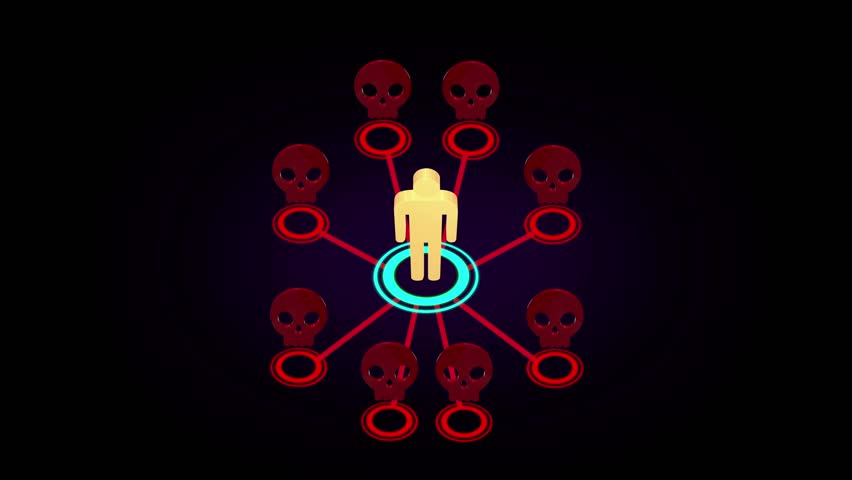 3D motion graphic animation of epidemic disease killing people or multi level marketing (MLM) referral network community is breaking off and people quit the business until bankrupt 4k (fast version)