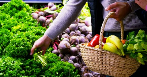 Couple selecting vegetables from organic section in supermarket