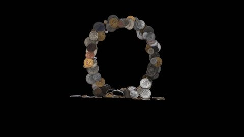 """Letter """"O"""" from dimes, pennies, nickels, quarters, half and one dollar coins. In - 3 sec.; Idle - 4 sec.; Out - 3 sec.; at 60 fps"""
