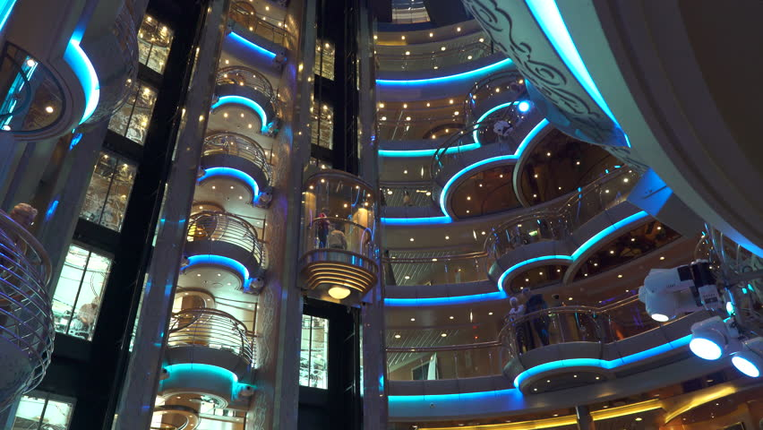 Cruise ship lounge and atrium bar - luxury onboard interior - June 2016: Serenade of the Seas, Royal Caribbean