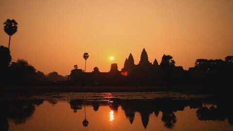 Beautiful sunrise at Angkor Wat temple temple