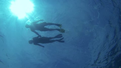 Couple Holding Hands and Snorkeling