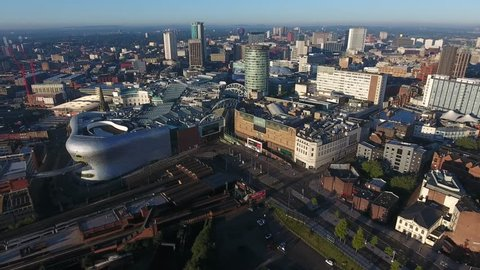 Aerial view of the bullring area of Birmingham in the UK.