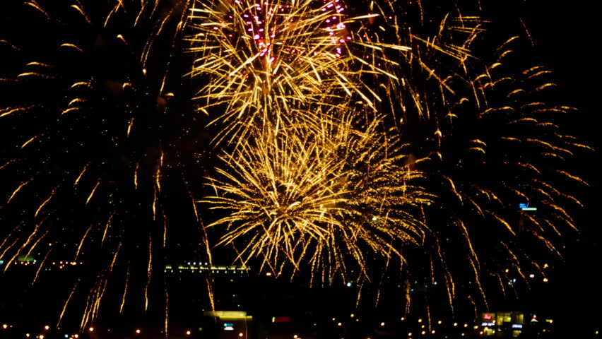 Colorful fireworks at holiday night | Shutterstock HD Video #20113309