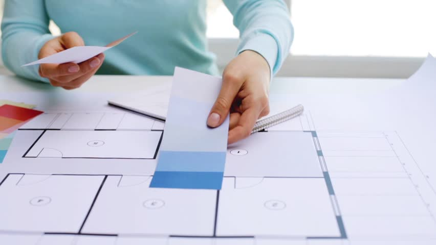 Business architecture interior design and people concept woman business architecture interior design and people concept woman with house blueprint and swatches choosing color stock footage video 20116396 malvernweather Image collections