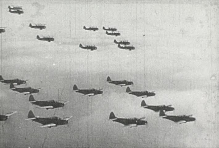 EUROPE - CIRCA 1942-1944: World War II, US Fighter Planes in Flight