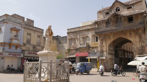 Porbandar, India - March 28, 2016: Manek chowk with Gandhi statue
