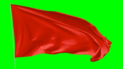 Blank plain red flag with flagpole waving in the wind, 3D animation with green screen, 4K Ultra HD 2160p 3840x2160