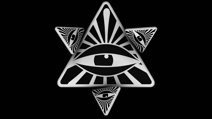 EYE OF PROVIDENCE IN A TRIANGLES ANIMATION. ALPHA CHANNEL. Perfect 4K transition or intro for TV show, news or movie. Can be suitable for a stage design or symbols and conspiracy theory projects.