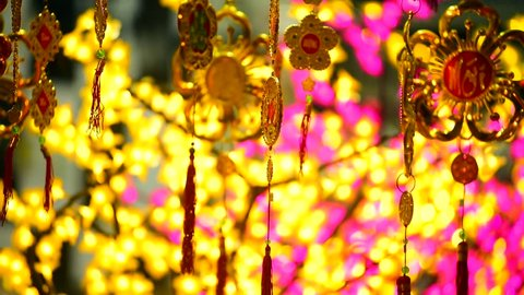 in Vietnam city center Lucky charm items in red and gold are for sale before lunar new year, called Tet in Vietnam.