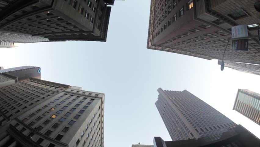 SAN FRANCISCO, CALIFORNIA, USA - CIRCA 2011; Fisheye View of Passing Skyscrapers