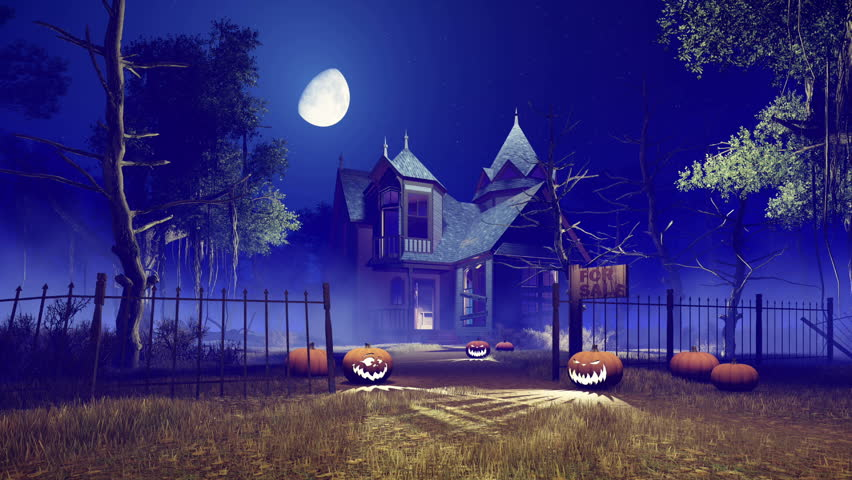Spooky abandoned haunted house with carved Halloween pumpkins on its path and creepy dead trees around at foggy night with fantastic big moon in sky. Realistic 3D animation rendered in 4K | Shutterstock HD Video #20234326