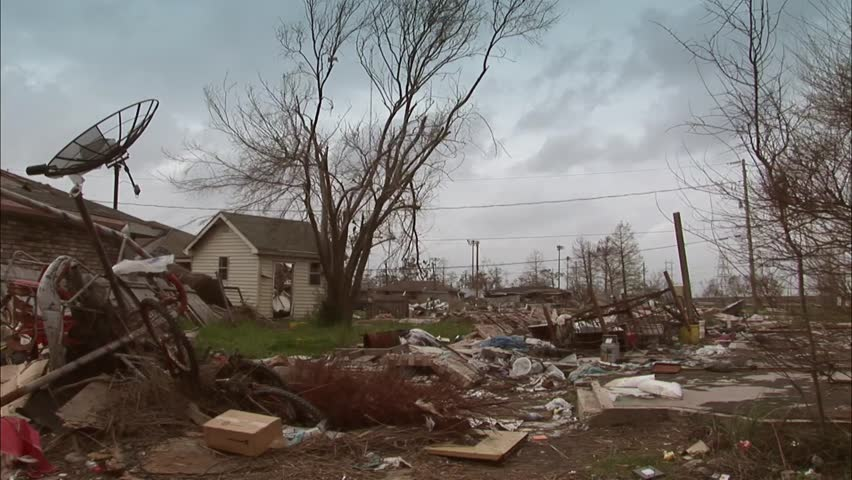 Destroyed homes and shrimp boat in New Orleans from hurricane Katrina