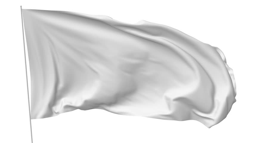 Blank plain white flag with flagpole waving in the wind, surrender flag 3D animation with luma matte alpha channel included