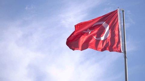Turkish flag waving in Bodrum - TURKEY