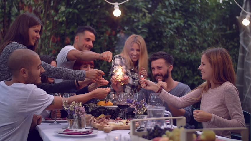 Marvelous Dinner Party Video Part - 1: Friends Holding Lit Sparklers At A Dinner Party - 4K Stock Video Clip