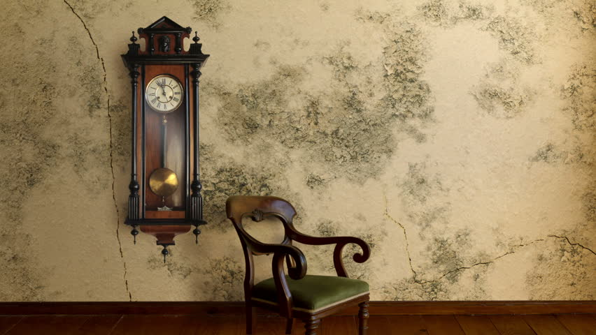 Vintage grandfather clock on a time lapse wall that develops damp and begins to crack and peel. Includes original clock audio.