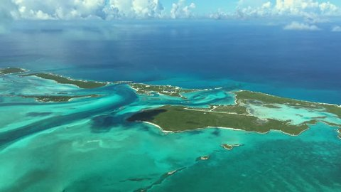 Scenic view from above on the uninhabited islands of the Bahamas