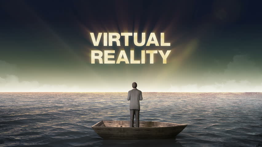 Rising typo 'VIRTUAL REALITY', front of Businessman on a ship, in the ocean, sea.