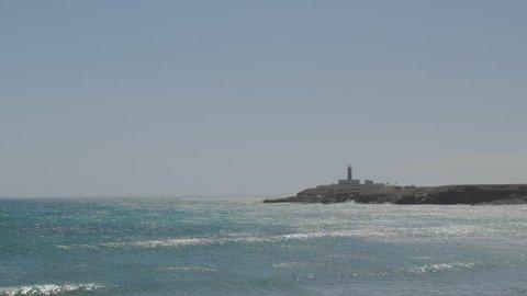 Sparkling waves and Fuerteventura Lighthouse - Faro de Punta Jandia, Fuerteventura, Canary Islands.