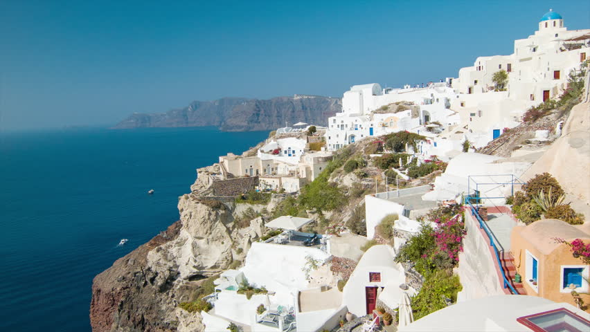 SANTORINI, GREECE - 2016: Town of Oia Scenic View from the Top Over the
