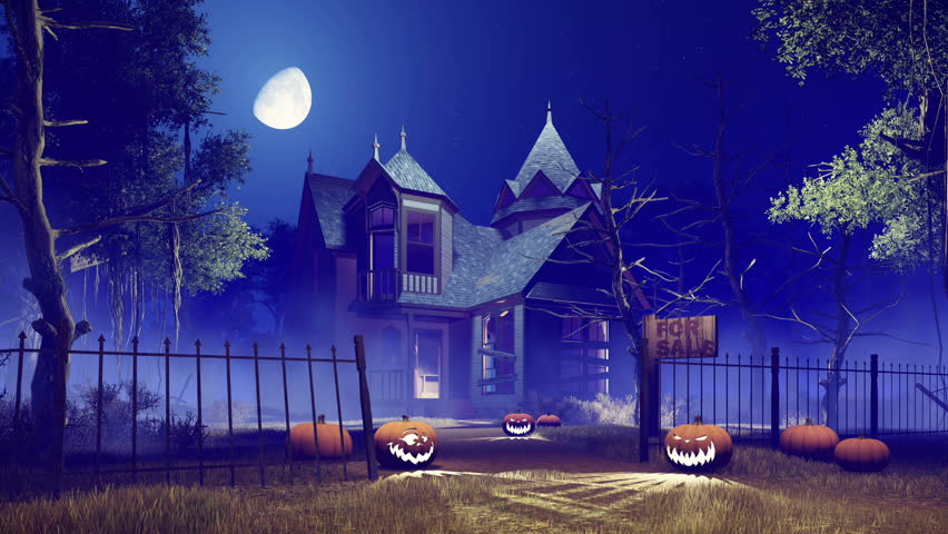 Jack-o-lantern Halloween pumpkins on the trail leading to abandoned haunted house surrounded by creepy trees at misty night with fantastic big moon in sky. Realistic 3D animation rendered in 4K | Shutterstock HD Video #20369296