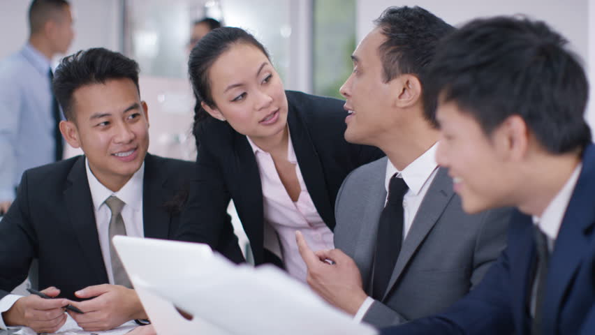4K Asian corporate business group in discussion in business meeting. Shot on RED Epic. | Shutterstock HD Video #20373466