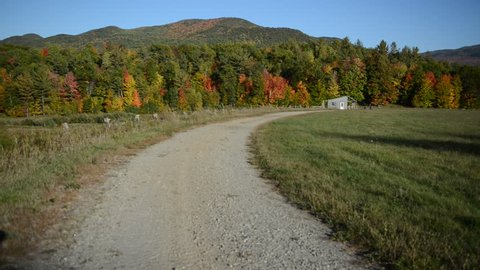 Remote Road with Autumn foliage with red, orange and yellow fall colors in A Northeast forest