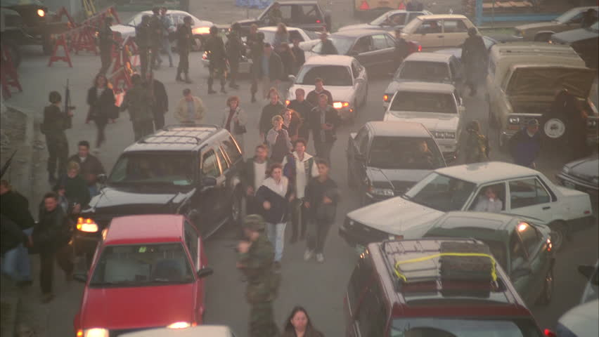Day High down traffic jam, some accidents, people panic run thru cars, military soldiers national guards, evacuation, chaos, disaster | Shutterstock HD Video #20400496