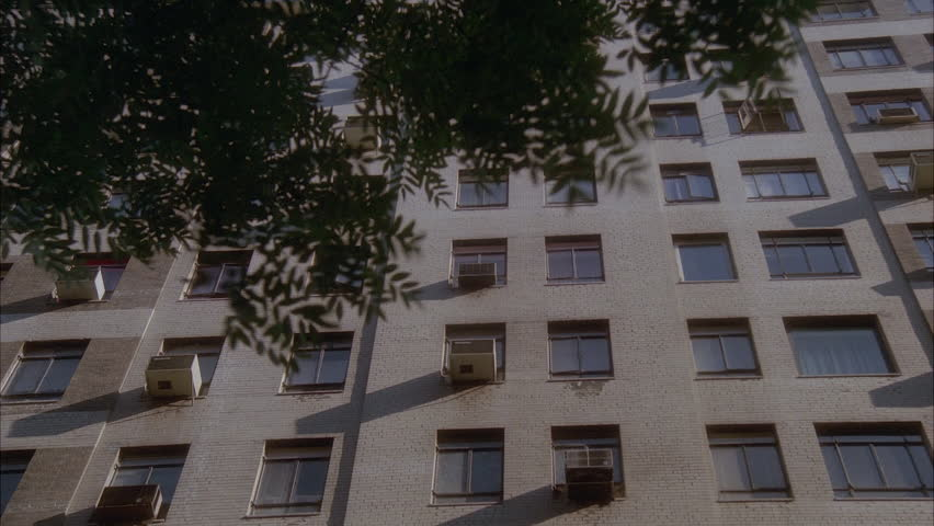 nice apartment building. day up angle windows nice white beige stone apartment building office  green trees s Day Up Angle Windows Nice White Beige Stone Apartment Building