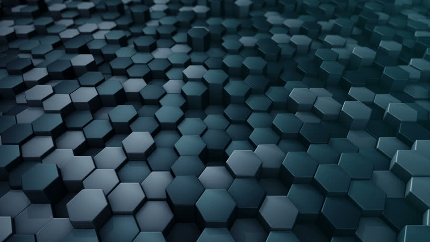 Glowing Hexagonal Tiles Abstract Moving Background Of