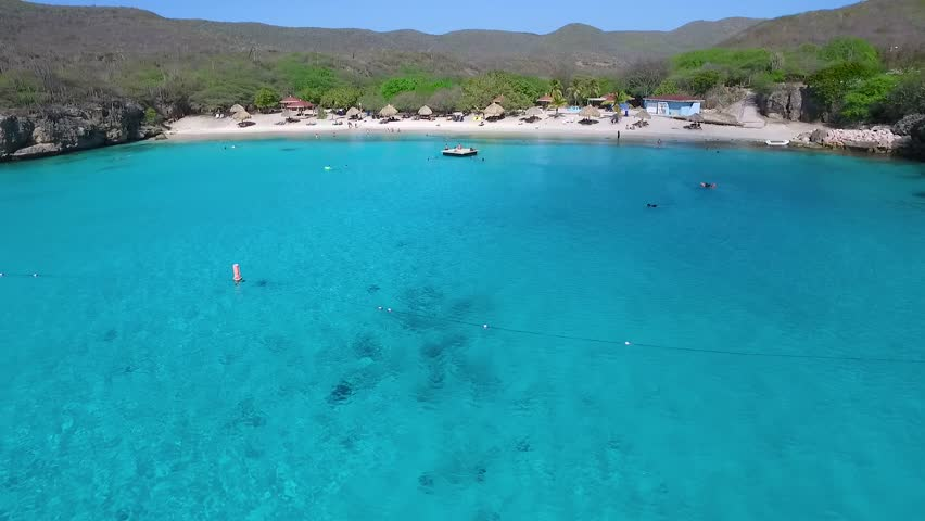 Aerial overview of Grote Knip beach, Curacao