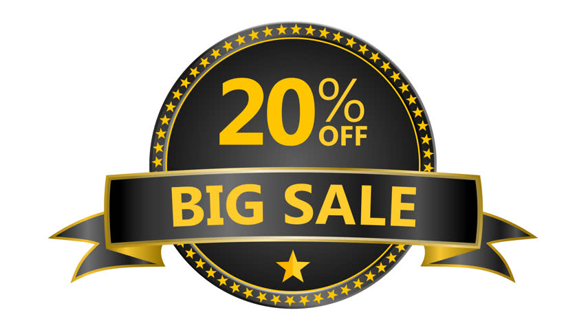 Big Sale motion tag. Discount and special offer. 20% off. 4K Black Friday animation online shopping banner. Include PNG + Alpha channel.