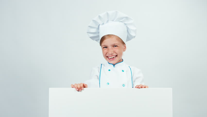 Close up portrait chef hides behind the whiteboard and laughing at camera with teeth. Isolated on white | Shutterstock HD Video #20487856