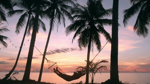 silhouette of a man in a hammock under a palm tree at sunset on the beach