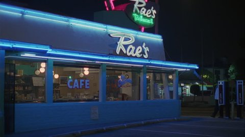 night Tight Static left classic 50s style Raes diner cafe neon lights