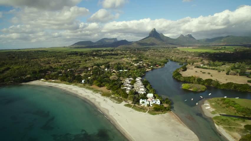 Aerial View: Tamarin Public Beach, Mauritius