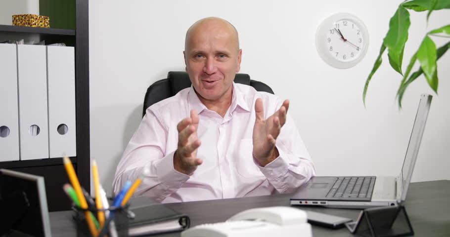 Successful Businessman Interview Reporter Dialogue Financial Issues Conference ( Ultra High Definition, UltraHD, Ultra HD, UHD, 4K, 2160P, 4096x2160 ) | Shutterstock HD Video #20529934