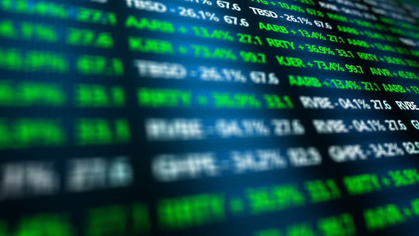 Stock Market Ticker ominous closeup in digital landscape of Stock Exchange | Shutterstock HD Video #20535616