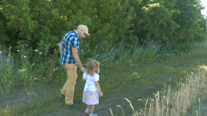 Answer, matchless Dad with daughter walking good