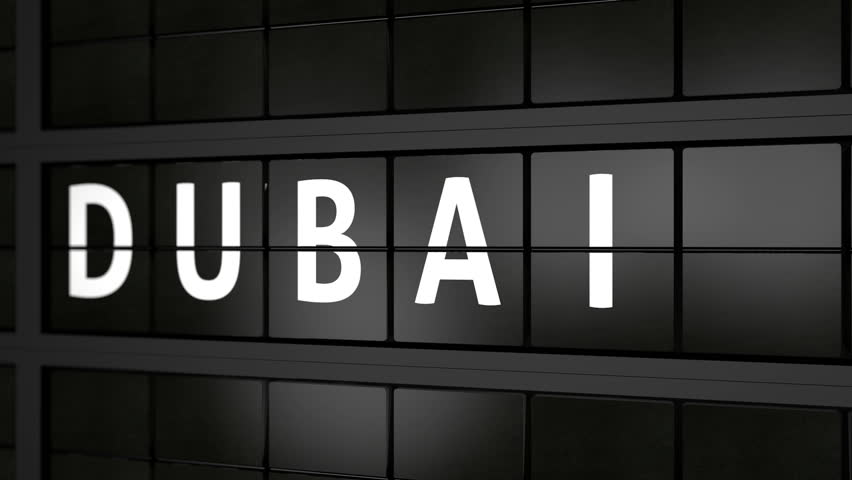 flight information board animation with the city name Dubai