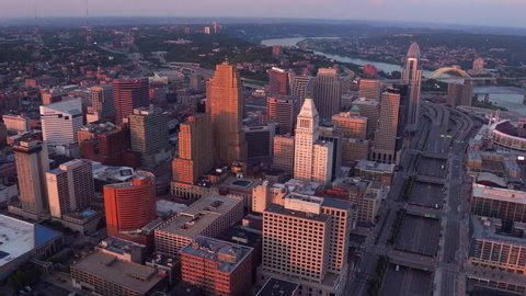 Aerial view of Cincinnati, Ohio at sunset