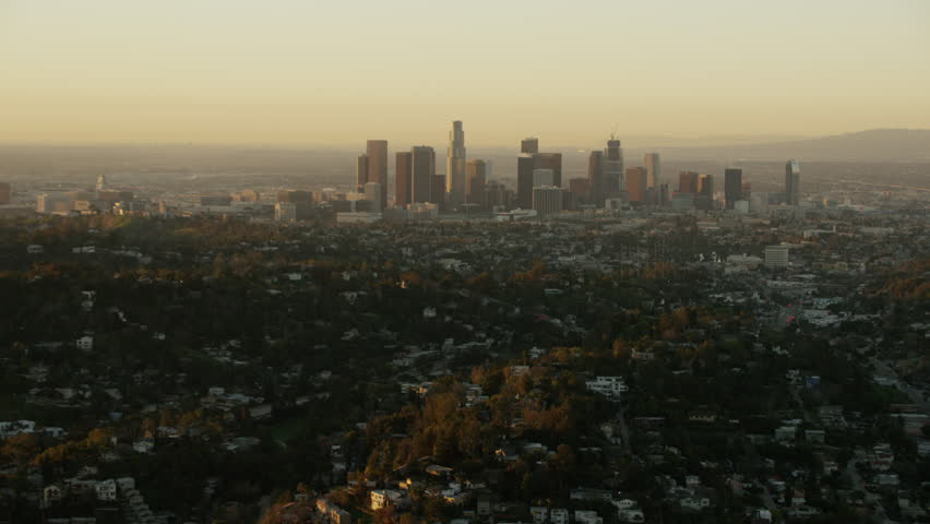 Los Angeles, USA - 2016: Aerial sunrise Skyscraper Downtown city commerce Cityscape Commercial business building outdoor Residential travel tourism vacation | Shutterstock HD Video #20571346
