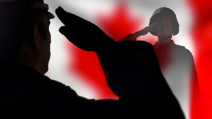 4K Canadian Officer Silhouette Salute, Remembrance Day ...