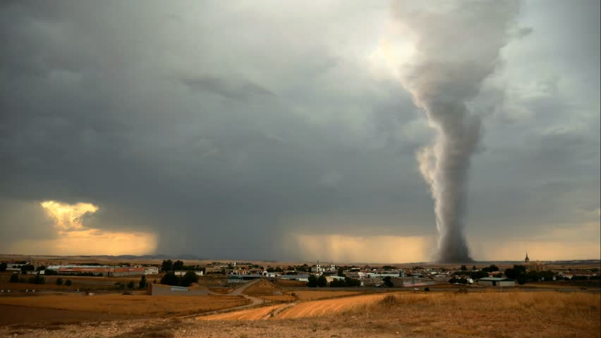 Massive devastating Tornado in a rural landscape
